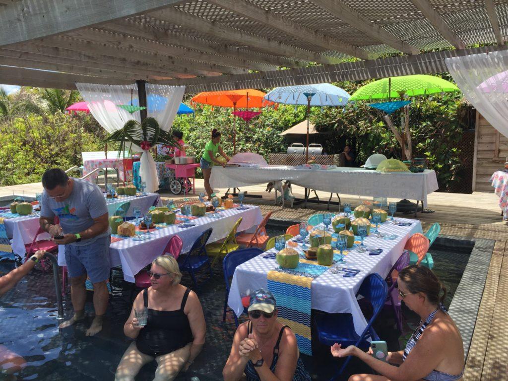Dinner set up beside a pool in Honduras