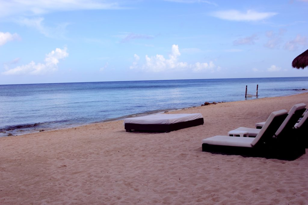 Beach side seating in Cozumel