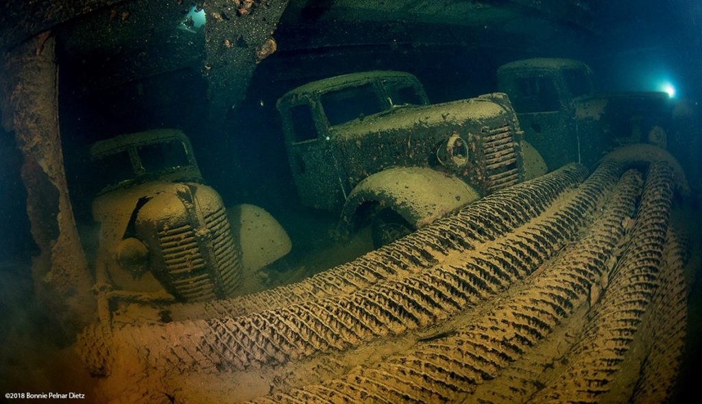 Underwater shot of trucks in Truk Lagoon