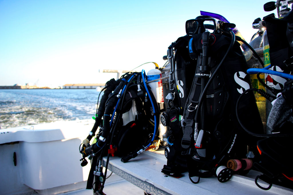 Dive equipment set up before an offshore dive