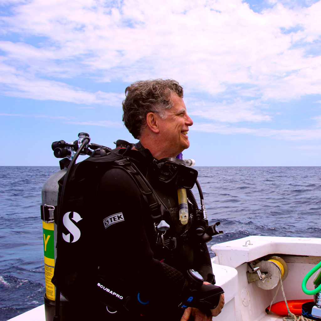 A diver waiting to start a dive