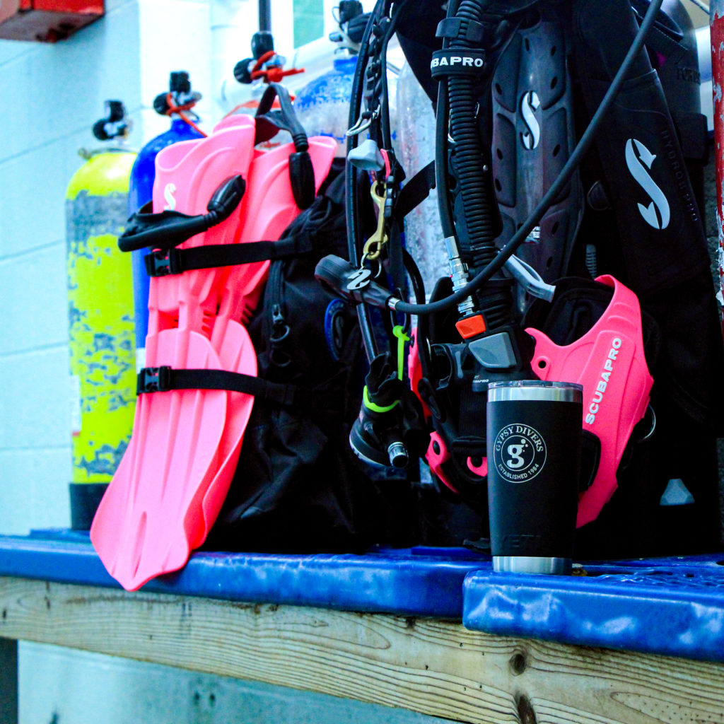 Dive equipment set up near the pool