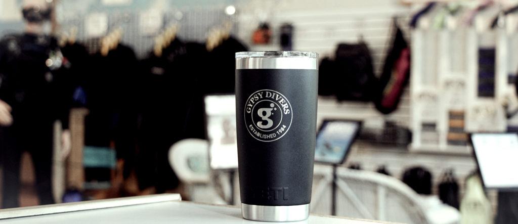 The yeti mug with the Gypsy Divers logo