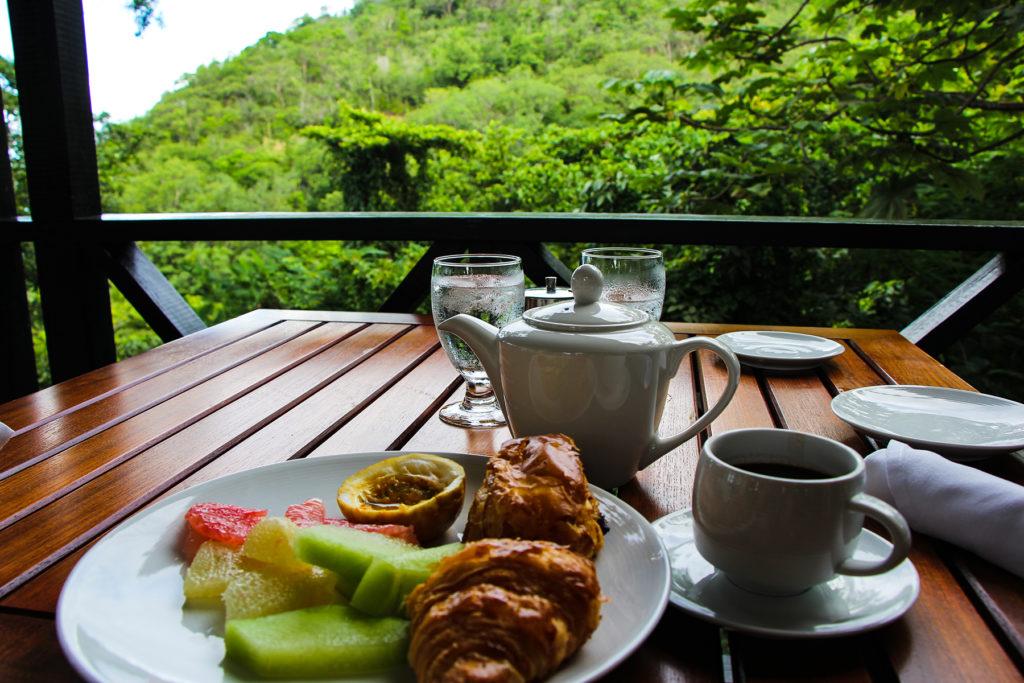 Breakfast in mountain resort in St. Lucia