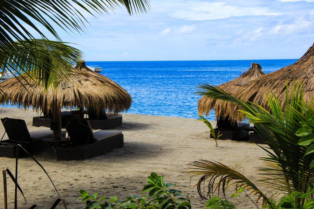 Beachside seats and umbrellas in St. Lucia