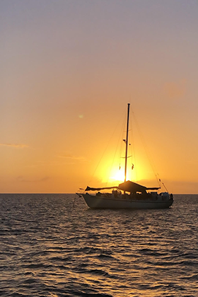 Sunset behind the Morning Star in the Bahamas