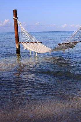 Hammock in the ocean in Cozumel