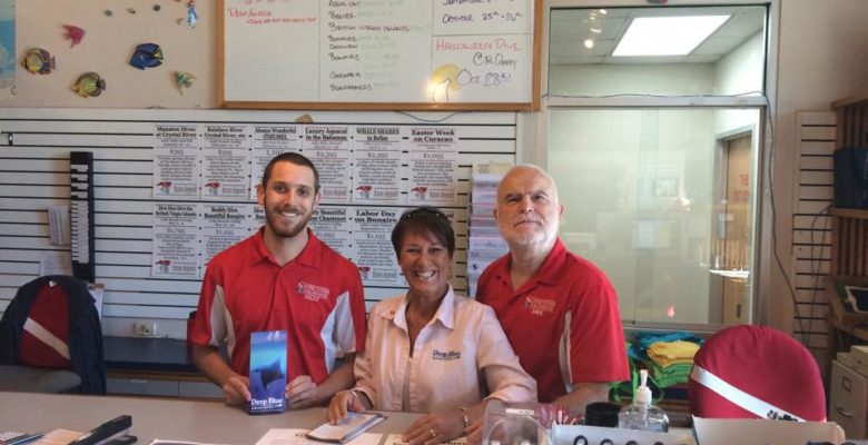 The founder Dave, with the current owner, Billy, and our travel agent, Terri