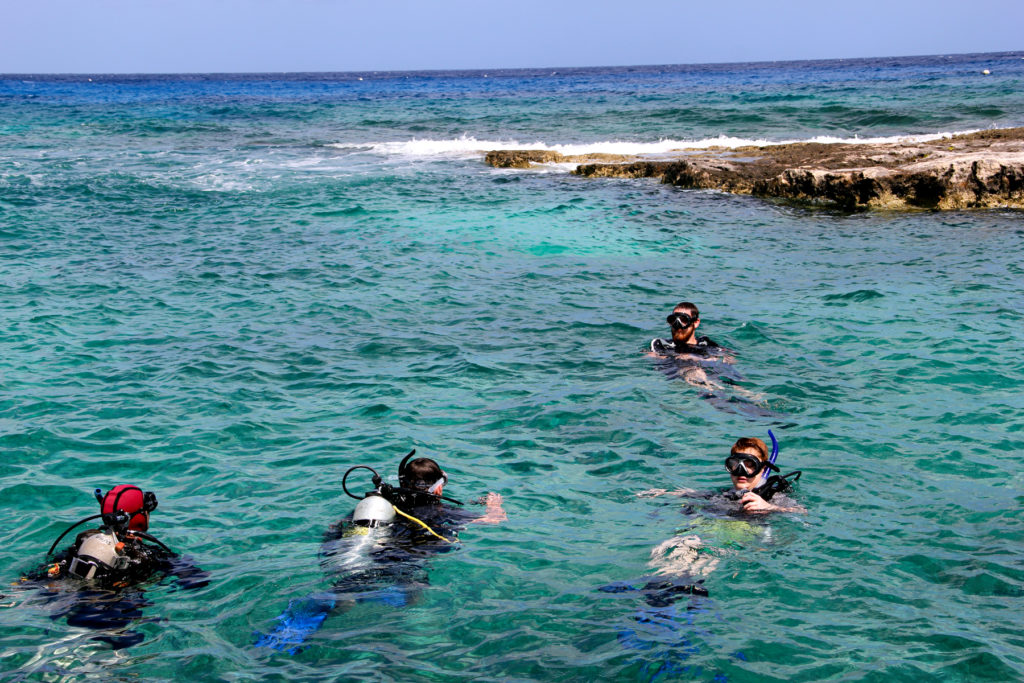 4 divers checking in at the surface before beginning a dive