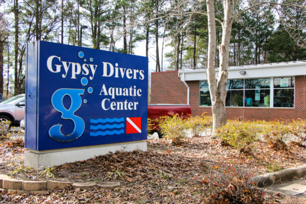 The front of our Gypsy Divers Aquatic Center building