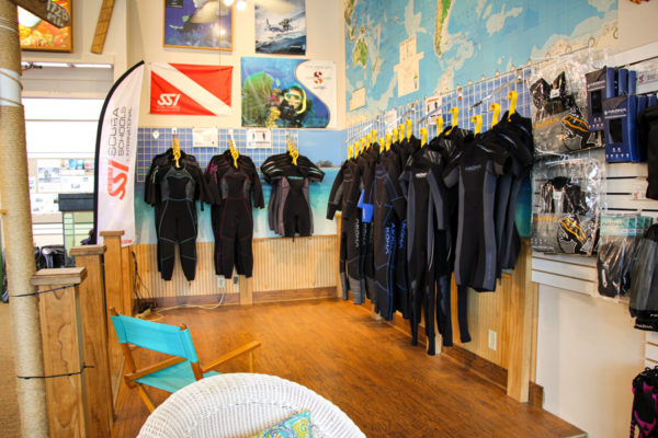 The wetsuit area of the store.