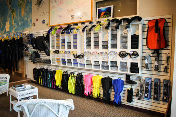 The snorkeling area of the store, complete with masks, snorkels, fins, and other equipment.