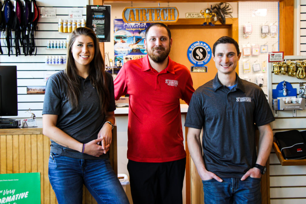Our three in-store staff members, Lauryn, Billy, and Matt