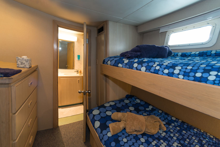 Turks and Caicos Explorer II Bunk beds in Cabin 10. Room shows two beds and a doorway leading into a private bathroom.